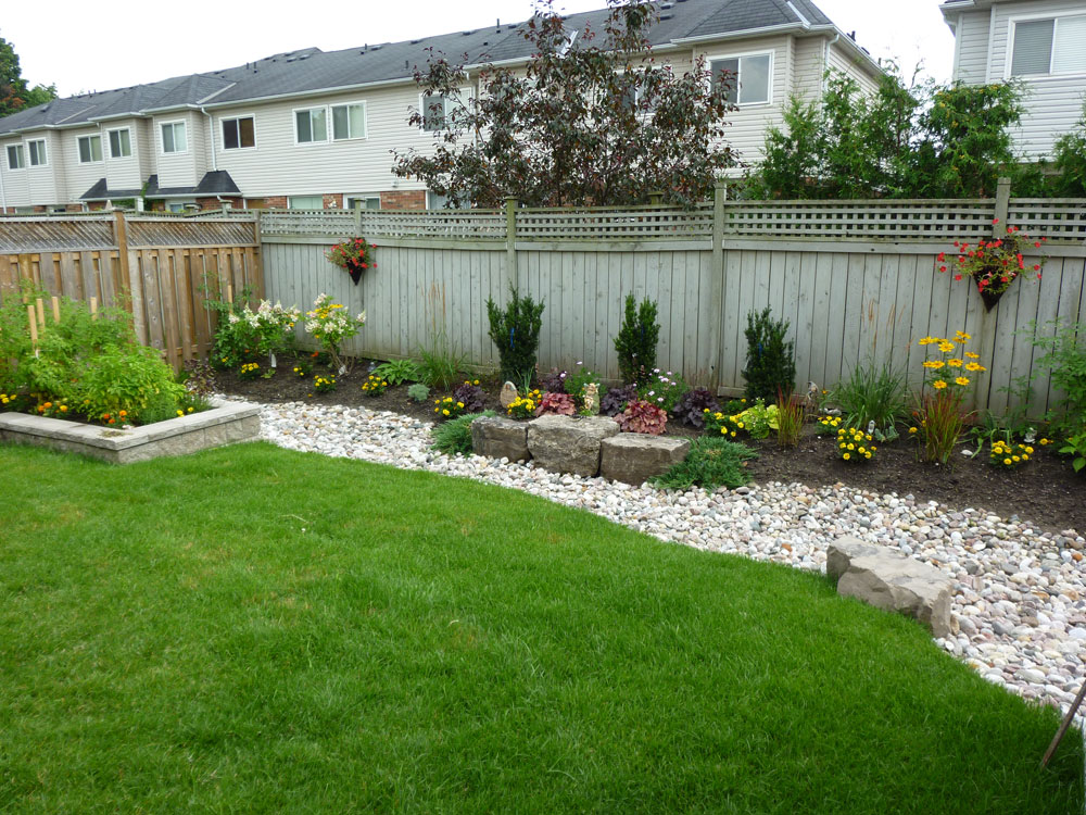 mulch backyard ideas landscaping garden design stone interlock backyard landscape design - Mulch Designs