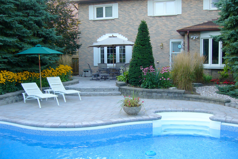 Pool side landscape samples durham whitby oshawa for Landscaping ideas for pool areas
